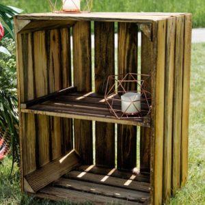 Holzkiste in braun mit Zwischenfach
